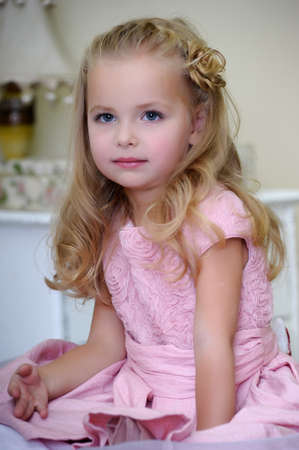 headband: Little girl in pink dress