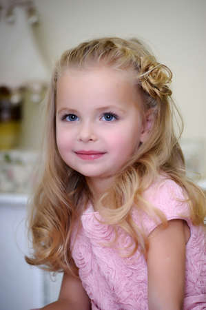 young diapers: Little girl in pink dress