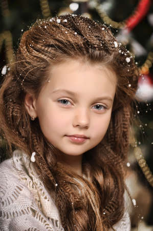 portrait of girl with snowflakes on hair Stock Photo - 17084937