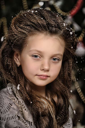portrait of girl with snowflakes on hair Stock Photo - 17084854