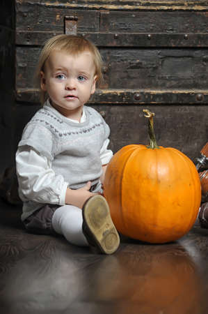 Halloween baby with pumpkins Stock Photo - 17458452