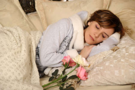 young woman sleeping photo