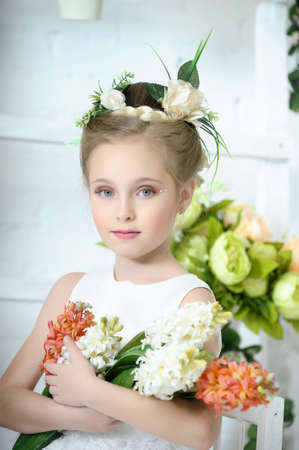 Girl with flowers Stock Photo - 17138632