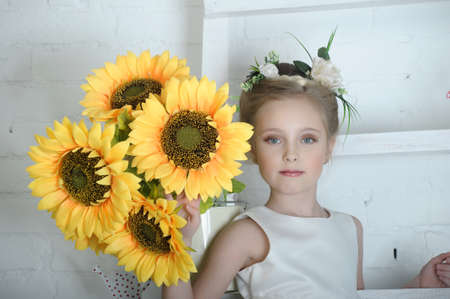 Girl with flowers Stock Photo - 17138665