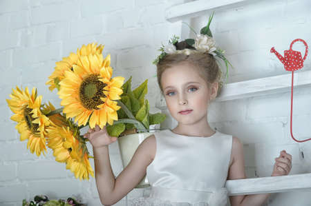 Girl with flowers Stock Photo - 17138668
