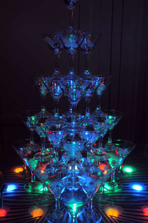 Pyramid of glasses of champagne  photo