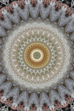 gray with yellow circular ornament pattern photo
