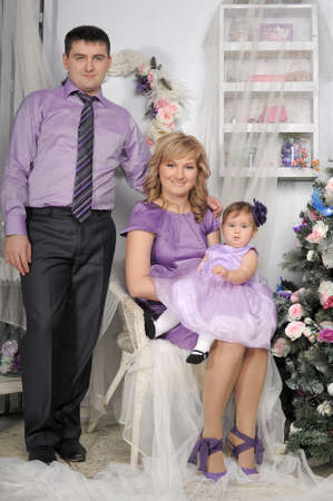 family portrait with baby daughter Stock Photo - 17317675