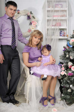 family portrait with baby daughter Stock Photo - 17317674
