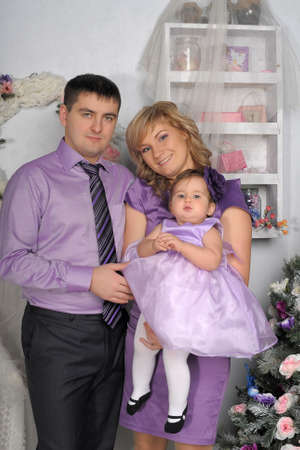 family portrait with baby daughter photo