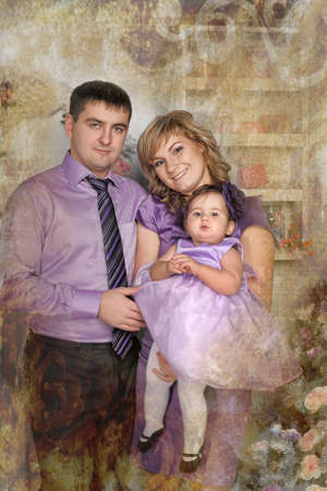 family portrait with baby daughter Stock Photo - 17317671