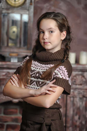 portrait of teen girl in a knitted sweater Stock Photo - 17647211