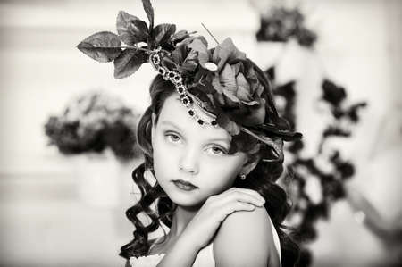Vintage Girl with Flowers in her hair photo