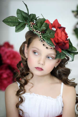girlgypsy: Vintage Girl with Flowers in her hair Stock Photo