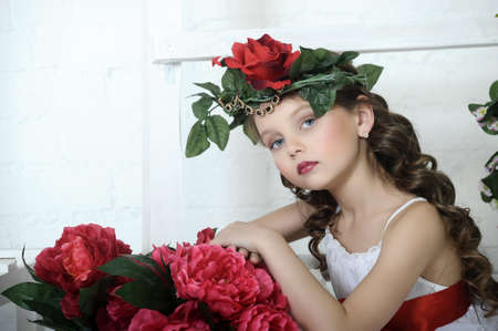 Vintage Girl with Flowers in her hair Stock Photo - 17458346