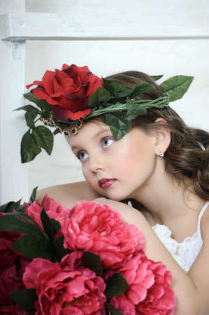 Vintage Girl with Flowers in her hair Stock Photo - 17458347