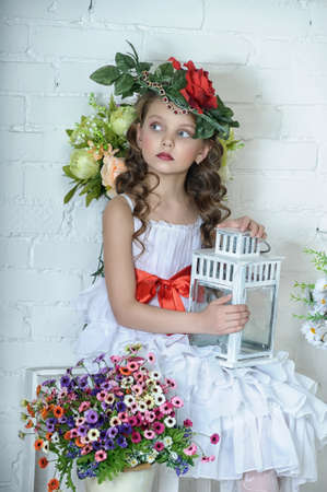 Vintage Girl with Flowers Stock Photo - 17481458