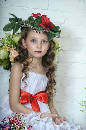 Vintage Girl with Flowers Stock Photo - 17481485