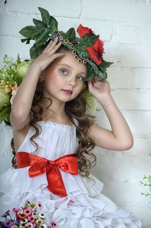 Vintage Girl with Flowers Stock Photo - 17481483
