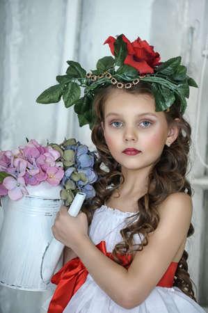 black hair blue eyes: Vintage Girl with Flowers