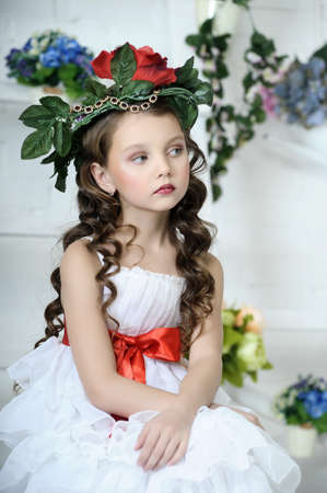 young girl: Vintage Girl with Flowers
