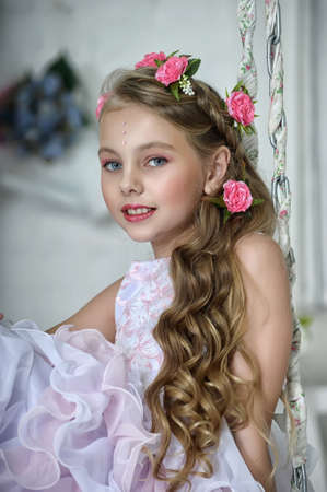 Vintage Girl with Flowers Stock Photo - 17458342