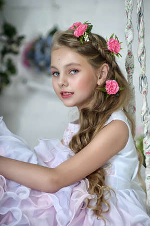 Vintage Girl with Flowers