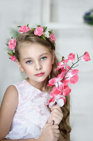 Vintage Girl with Flowers Stock Photo - 17458354