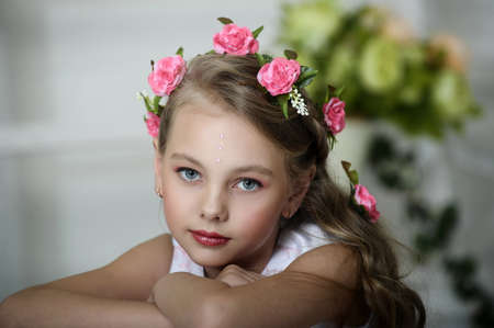 Vintage Girl with Flowers Stock Photo - 17458364