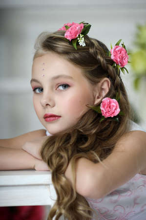 Vintage Girl with Flowers Stock Photo - 17458368