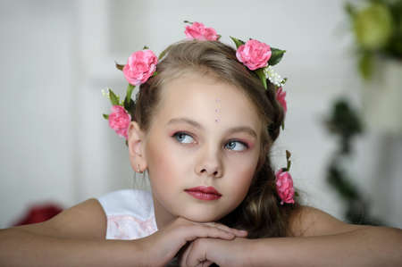 Vintage Girl with Flowers Stock Photo - 17458378
