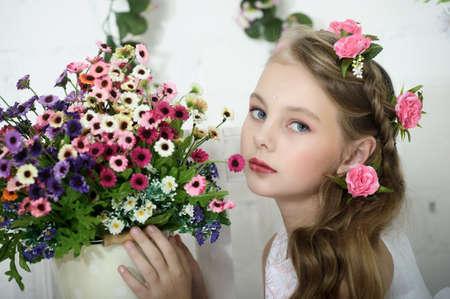 blonde blue eyes: Vintage Girl with Flowers