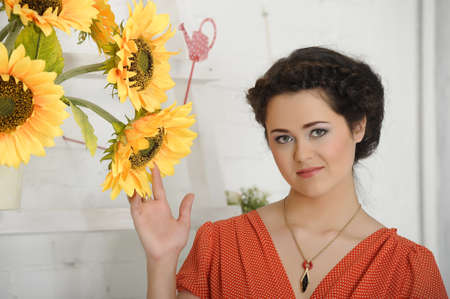 plus sized: beautiful young brunette sunflowers