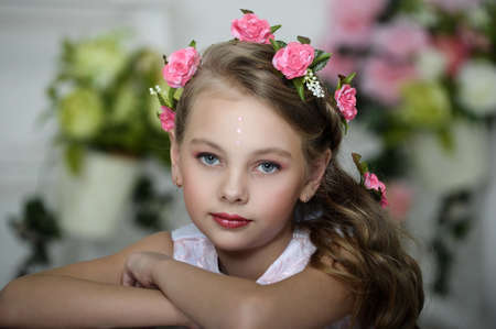 girl with flowers in her hair Stock Photo - 17268416
