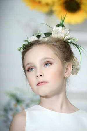 girl with flowers in her hair photo