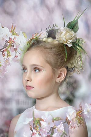 girl with flowers in her hair Stock Photo - 17268479
