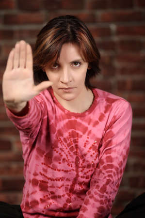 Woman showing stop gesture Stock Photo - 17268011
