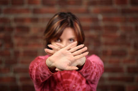 Woman showing stop gesture Stock Photo - 17266928