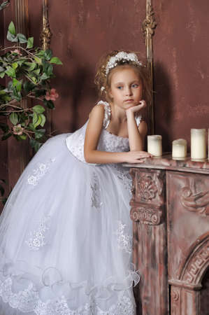 The little girl in a dress of the bride photo