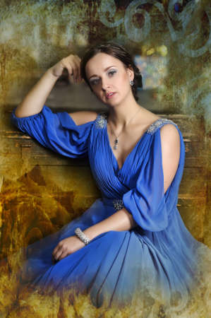 elegant woman in retro style in a blue dress Stock Photo - 18299664