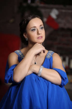 elegant woman in retro style in a blue dress Stock Photo - 18299660