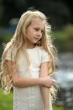 beautiful long-haired blonde girl Stock Photo