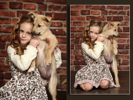 girl with  puppy hugs photo