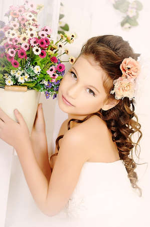 bridal hair: girl and a pot of flowers
