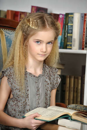Girl with books photo