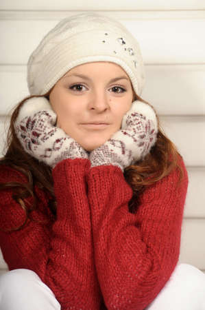 Portrait of young smiling winter woman photo