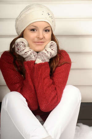 Portrait of young smiling winter woman Stock Photo - 19024868