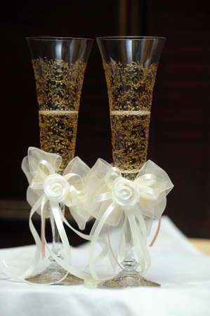 two glasses of champagne wedding photo