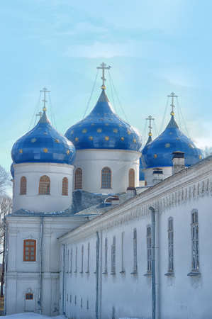 exaltation: Church of the Exaltation of the Cross, St  George monastery in Novgorod, Russia