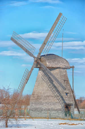 Windmill in Veliky Novgorod, Russia in winter photo